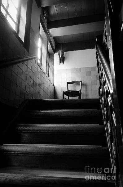 Wall Art - Photograph - A Chair At The Top Of The Stairway Bw by RicardMN Photography