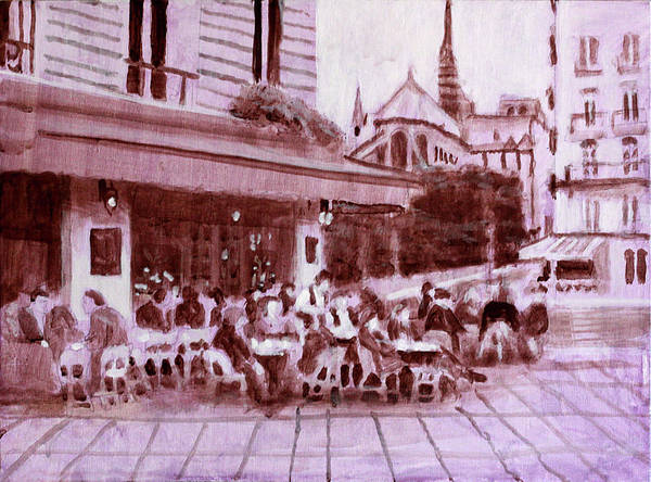 Dining Al Fresco Painting - A Chance Encounter by David Zimmerman