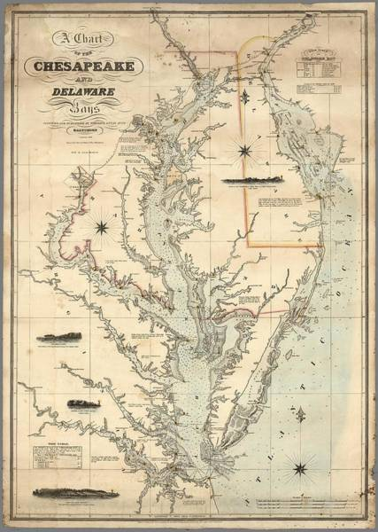 Wall Art - Painting - A Chart Of The Chesapeake And Delaware Bays 1862 by Celestial Images
