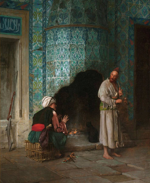 Chat Painting - A Chat By The Fireside by Jean-Leon Gerome