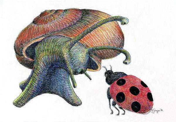 Lady Bug Drawing - A Chat In The Garden by Mark Johnson