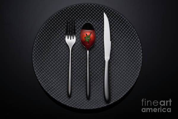 Pokes Wall Art - Photograph - A Cherry Tomato On A Spoon At Black Dish With Dark Background 2 by Kayenn Kim