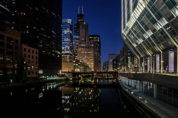 Photograph - A Chicago River And Skyline At Blue Hour by Sven Brogren