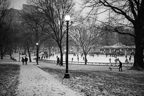 Photograph - A Christmas Walk Through The Boston Common Boston Ma Black And White by Toby McGuire