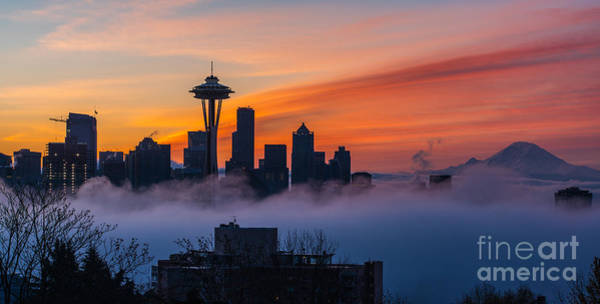 Seattle Skyline Photograph - A City Emerges by Mike Reid