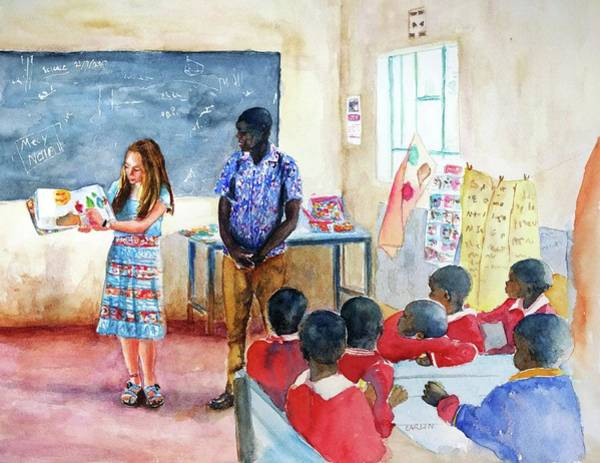 African Women Painting - A Classroom In Africa by Carlin Blahnik CarlinArtWatercolor
