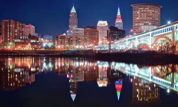 Wall Art - Photograph - A Cle Reflection In The Cuyahoga by Frozen in Time Fine Art Photography