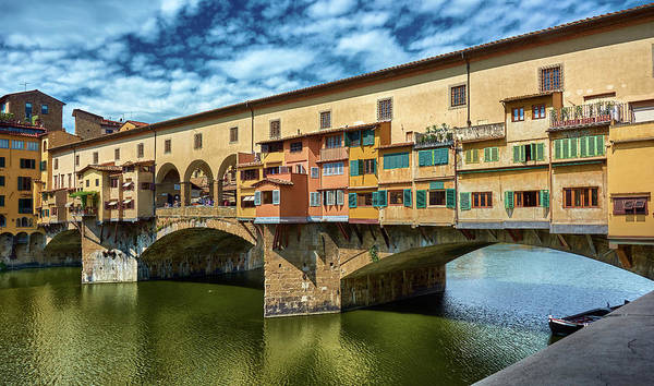 Photograph - Ponte Vecchio On The Arno River Under A Blue Sky In Florence, Italy by Fine Art Photography Prints By Eduardo Accorinti