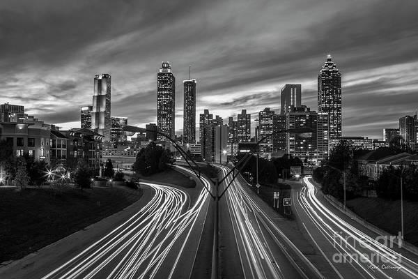 Wall Art - Photograph - A Closer View B W Atlanta Nite Lights 9 Atlanta Sunset Cityscape Art by Reid Callaway