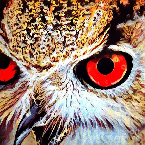 Eyeballs Painting - A Closeup Of The Eyes Of An Owl by Amy Cicconi