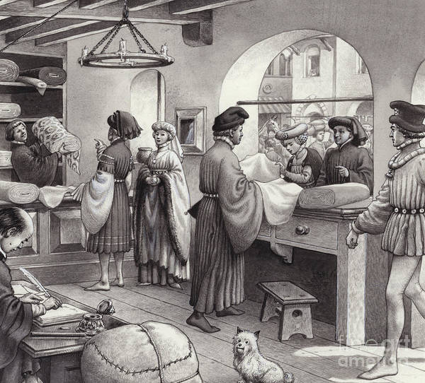 Wall Art - Painting - A Cloth Merchant's Shop In Renaissance Italy by Pat Nicolle