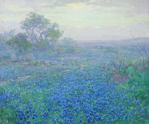 Bonnet Painting - A Cloudy Day, Bluebonnets Near San Antonio, Texas by Julian Onderdonk