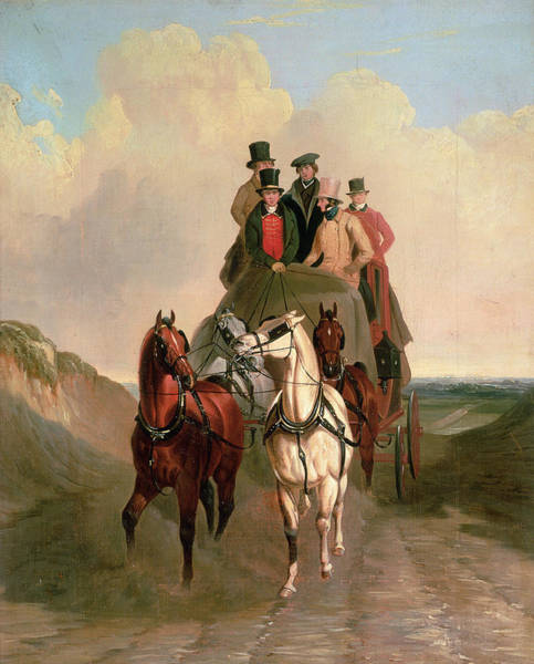 1879 Painting - A Coach And Four On An Open Road  by William Snr Shayer