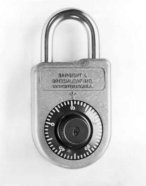 Wall Art - Photograph - A Combination Padlock by Underwood Archives