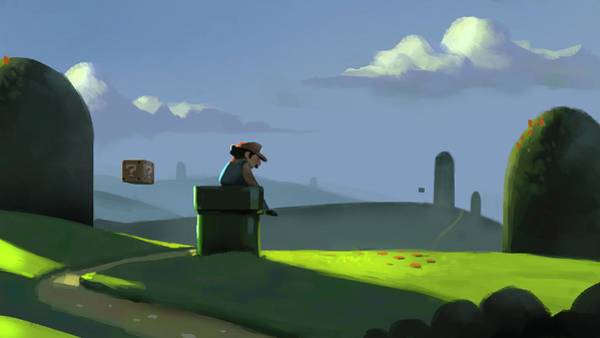 Gaming Painting - A Contemplative Plumber by Michael Myers