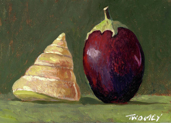 Yellow Ochre Painting - A Conversation, Eggplant Greeting Shell by Catherine Twomey