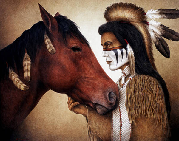 American Indian Wall Art - Painting - A Conversation by Pat Erickson