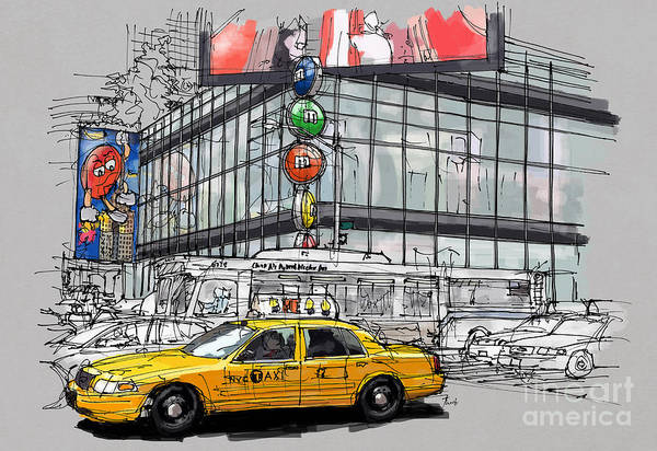 Wall Art - Painting - A Corner In New York City And A Yellow Cab by Drawspots Illustrations