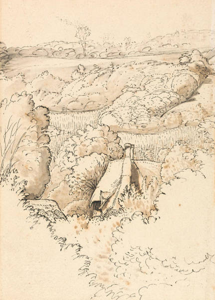 Drawing - A Cottage Among Trees, Shoreham by Samuel Palmer