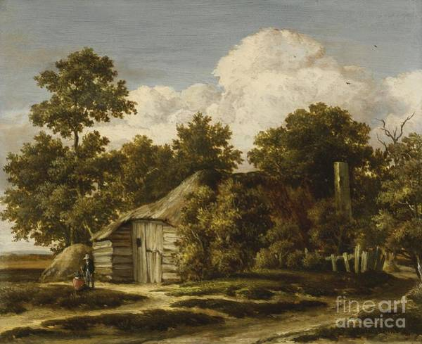Meindert Hobbema Painting - A Cottage At The Edge Of A Wood by MotionAge Designs