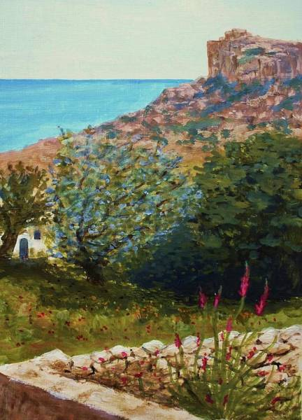 Snapdragons Painting - A Country Walk In Malta by Nigel Radcliffe
