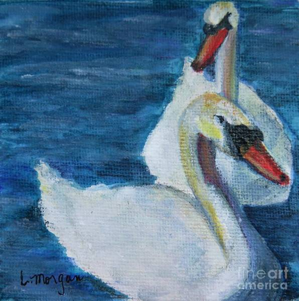 Painting - A Couple Of Swans by Laurie Morgan