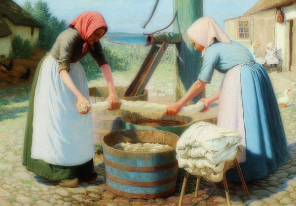 Wall Art - Painting - A Couple Of Women Doing Laundry by Valdemar Magaard