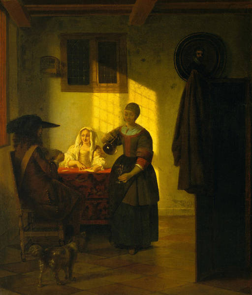 Gaming Painting - A Couple Playing Cards, With A Serving Woman by Pieter de Hooch