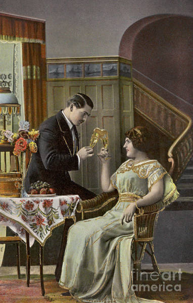 Photograph - A Couple Toasting Each Other's Wine Glasses by English School