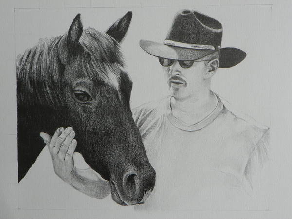 Organic Form Drawing - A Cowboy And His Horse by David Ackerson