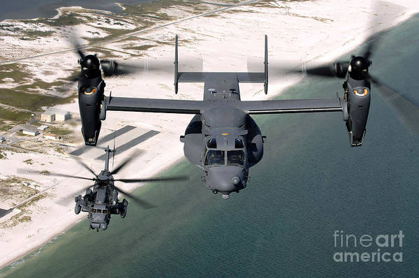 Rotor Photograph - A Cv-22 Osprey And An Mh-53 Pave Low by Stocktrek Images