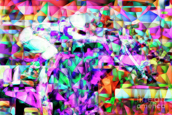 Photograph - A Day At The Horse Race Track In Abstract Cubism 20170329 by Wingsdomain Art and Photography