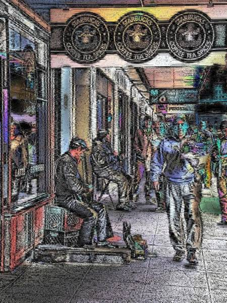 Busker Wall Art - Digital Art - A Day At The Market by Tim Allen