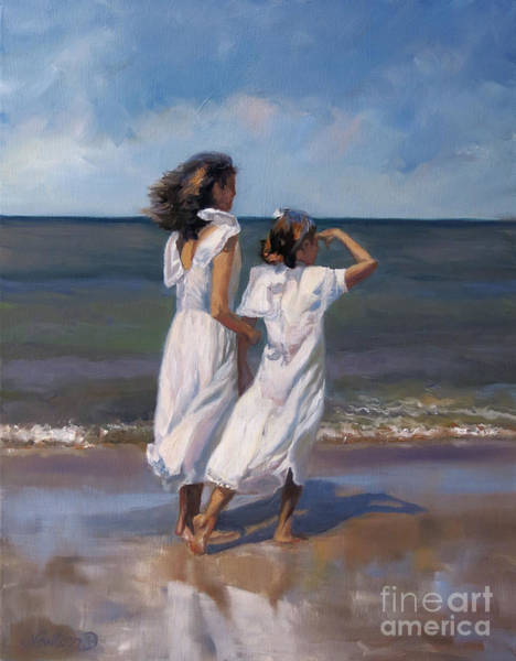 Wall Art - Painting - A Day On The Beach by Jeanne Newton Schoborg