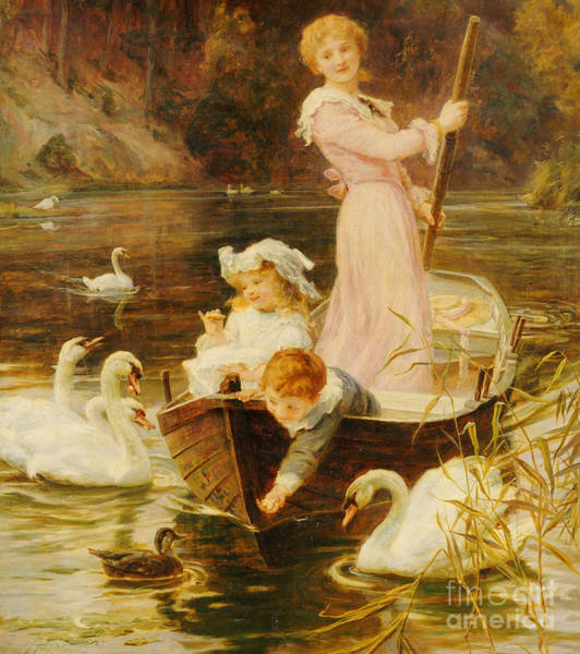 Small Boat Wall Art - Painting - A Day On The River  by Frederick Morgan