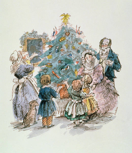 Happy Little Trees Painting - A Dickensian Christmas  The Tree by Carol Walklin