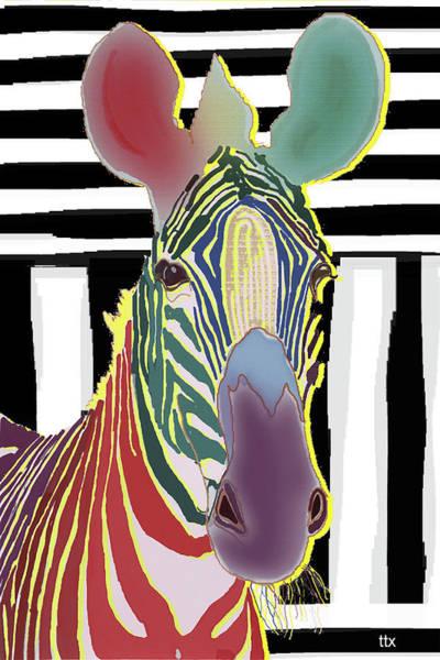 Art Print featuring the digital art A Different Zebra by Teresa Epps