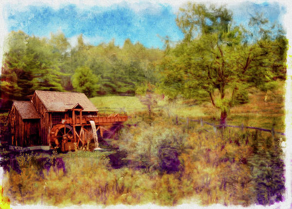 Photograph -  Grist Mill With Flowing Water by Rusty R Smith