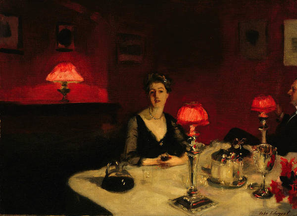A Dinner Table At Night Art Print