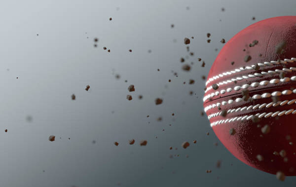 Wake Digital Art - A Dirty Red Leather Cricket Ball Caught In Slow Motion Flying Through The Air Scattering Dirt Partic by Allan Swart