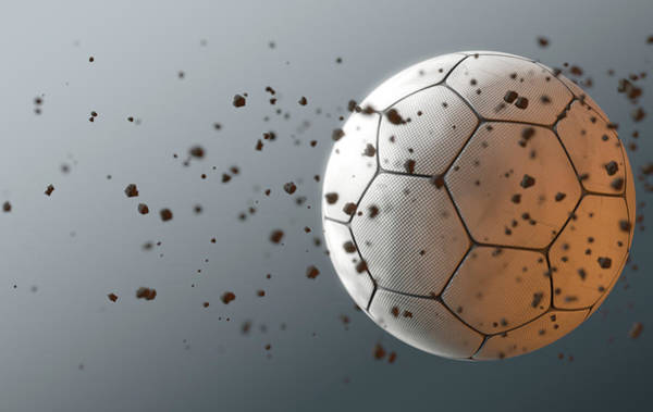Wall Art - Digital Art - A Dirty White Panelled Soccer Ball Caught In Slow Motion Flying Through The Air Scattering Dirt Part by Allan Swart