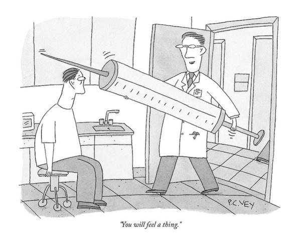 Patients Drawing - A Doctor Walks Into His Office To See A Patient by Peter C Vey