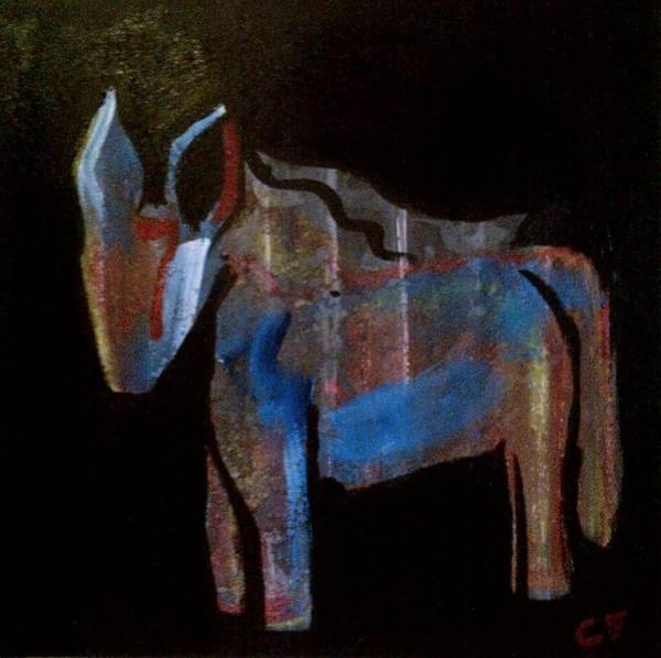 Developed Painting - A Donkey Named Frog by Celeste Fourie
