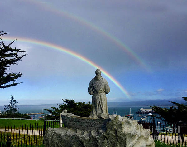 Photograph - A Double Rainbow Over The  Serra Statue At Lower Presidio Of Monterey 2018 by California Views Archives Mr Pat Hathaway Archives
