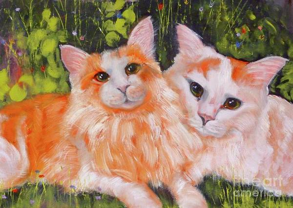 Wall Art - Painting - A Duet Of Kittens by Susan A Becker