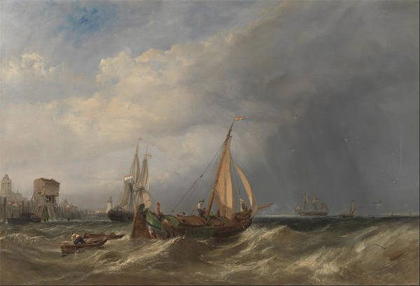 Tsunami Painting - A Dutch Barge And Merchantmen Running Out Of Rotterdam 1856 by Clarkson Frederick Stanfield
