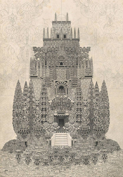 Structure Drawing - A Fantastic Tiered Structure by Herbert Crowley