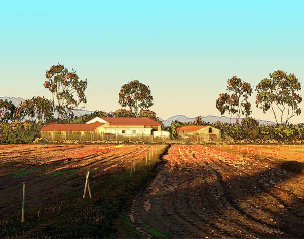 Fence Post Digital Art - A Farm In Chino California by Janice Sobien