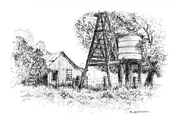 Drawing - A Farm In Schroeder by Randy Welborn