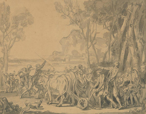 Jeans Drawing - A Farmer Entrusting The Plow To His Son by Jean-Baptiste Greuze